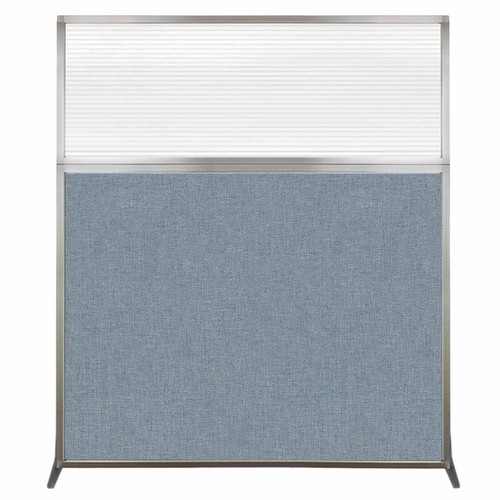 Hush Screen Portable Partition 5' x 6' Powder Blue Fabric Clear Fluted Window Without Wheels