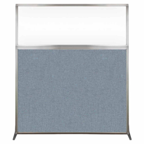 Hush Screen Portable Partition 5' x 6' Powder Blue Fabric Clear Window Without Wheels