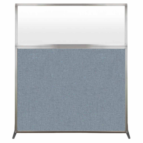 Hush Screen Portable Partition 5' x 6' Powder Blue Fabric Frosted Window Without Wheels