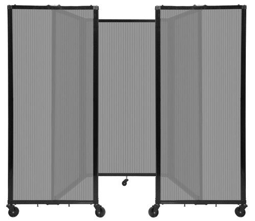"""Room Divider 360 Folding Portable Partition 8'6"""" x 5' Light Gray Fluted Polycarbonate"""