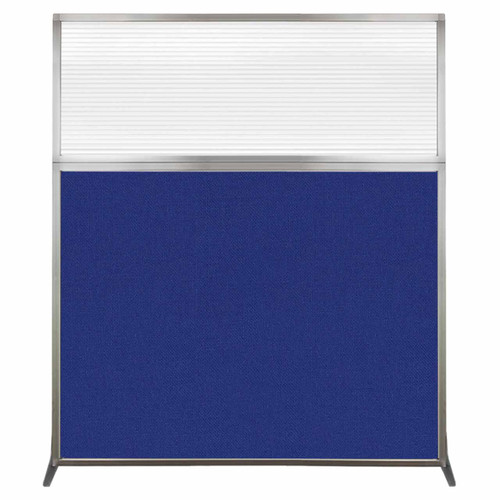 Hush Screen Portable Partition 5' x 6' Royal Blue Fabric Clear Fluted Window Without Wheels