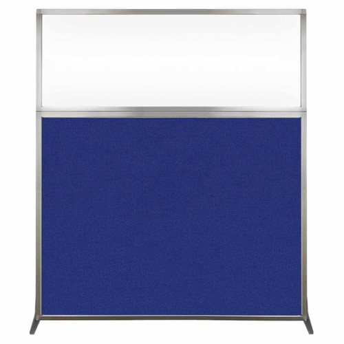 Hush Screen Portable Partition 5' x 6' Royal Blue Fabric Clear Window Without Wheels