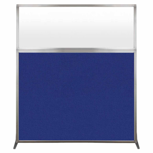 Hush Screen Portable Partition 5' x 6' Royal Blue Fabric Frosted Window Without Wheels