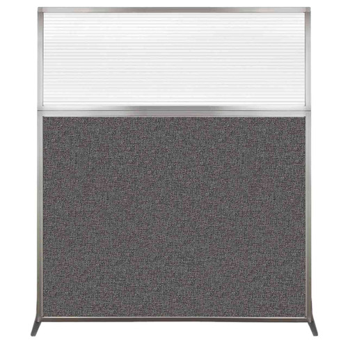 Hush Screen Portable Partition 5' x 6' Charcoal Gray Fabric Clear Fluted Window Without Wheels