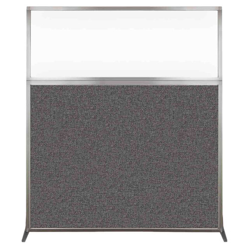 Hush Screen Portable Partition 5' x 6' Charcoal Gray Fabric Clear Window Without Wheels
