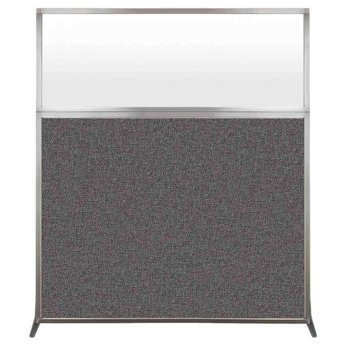 Hush Screen Portable Partition 5' x 6' Charcoal Gray Fabric Frosted Window Without Wheels