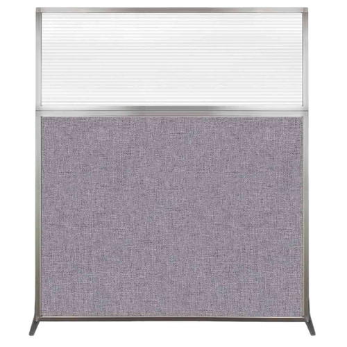 Hush Screen Portable Partition 5' x 6' Cloud Gray Fabric Clear Fluted Window Without Wheels