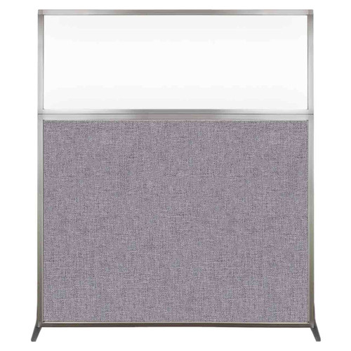 Hush Screen Portable Partition 5' x 6' Cloud Gray Fabric Clear Window Without Wheels