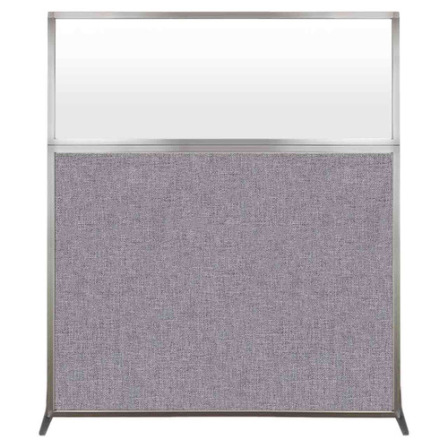 Hush Screen Portable Partition 5' x 6' Cloud Gray Fabric Frosted Window Without Wheels