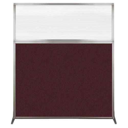 Hush Screen Portable Partition 5' x 6' Cranberry Fabric Clear Fluted Window Without Wheels