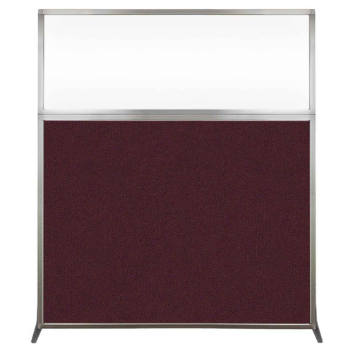 Hush Screen Portable Partition 5' x 6' Cranberry Fabric Clear Window Without Wheels