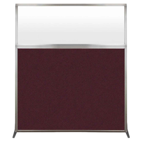 Hush Screen Portable Partition 5' x 6' Cranberry Fabric Frosted Window Without Wheels