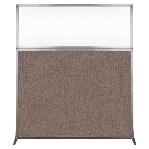 Hush Screen Portable Partition 5' x 6' Latte Fabric Clear Window Without Wheels
