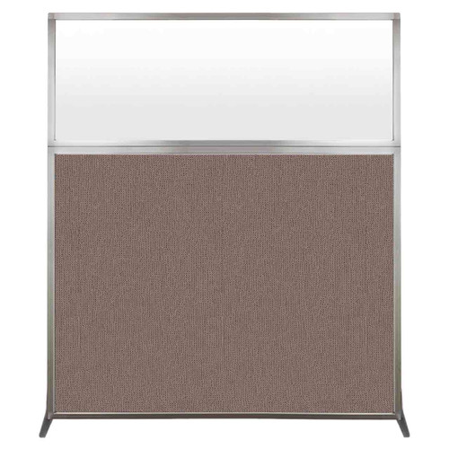 Hush Screen Portable Partition 5' x 6' Latte Fabric Frosted Window Without Wheels