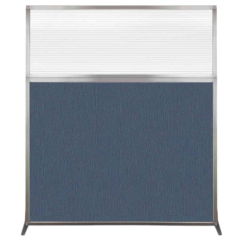 Hush Screen Portable Partition 5' x 6' Ocean Fabric Clear Fluted Window Without Wheels