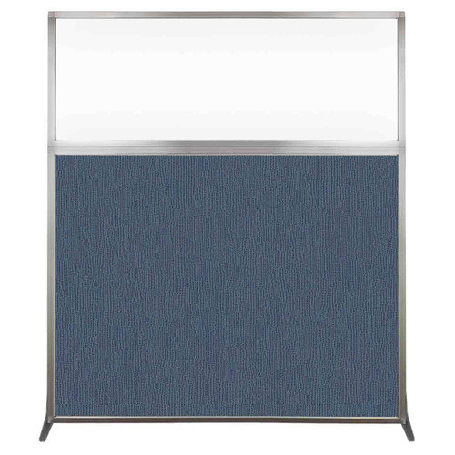 Hush Screen Portable Partition 5' x 6' Ocean Fabric Clear Window Without Wheels