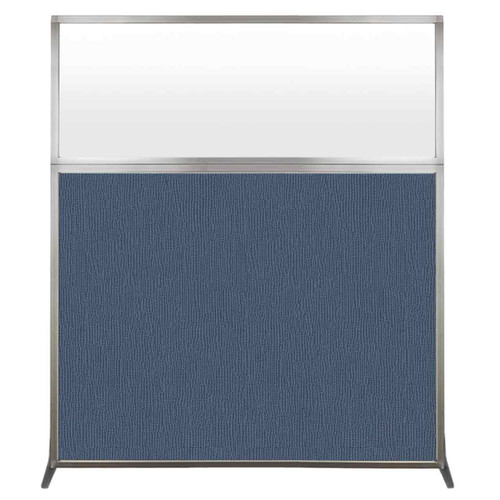 Hush Screen Portable Partition 5' x 6' Ocean Fabric Frosted Window Without Wheels