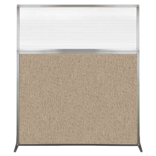 Hush Screen Portable Partition 5' x 6' Rye Fabric Clear Fluted Window Without Wheels