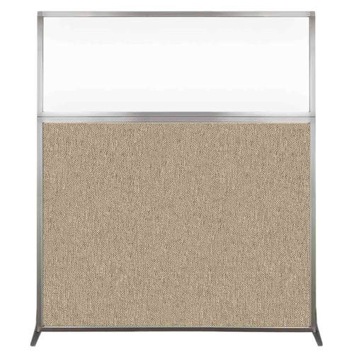 Hush Screen Portable Partition 5' x 6' Rye Fabric Clear Window Without Wheels