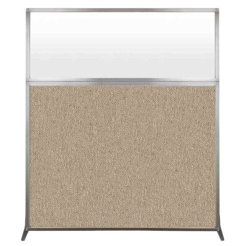 Hush Screen Portable Partition 5' x 6' Rye Fabric Frosted Window Without Wheels