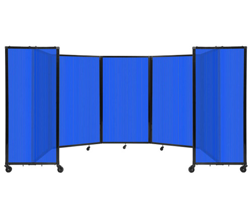Room Divider 360 Folding Portable Partition 14' x 5' Blue Fluted Polycarbonate