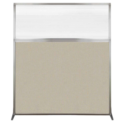 Hush Screen Portable Partition 5' x 6' Sand Fabric Clear Fluted Window Without Wheels