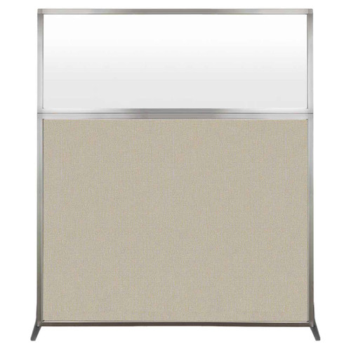 Hush Screen Portable Partition 5' x 6' Sand Fabric Frosted Window Without Wheels