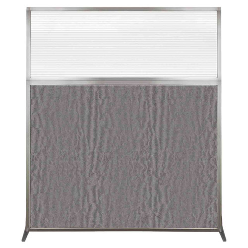 Hush Screen Portable Partition 5' x 6' Slate Fabric Clear Fluted Window Without Wheels