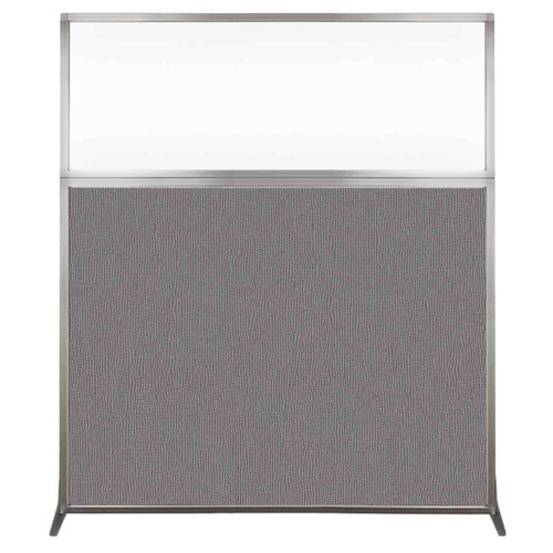 Hush Screen Portable Partition 5' x 6' Slate Fabric Clear Window Without Wheels