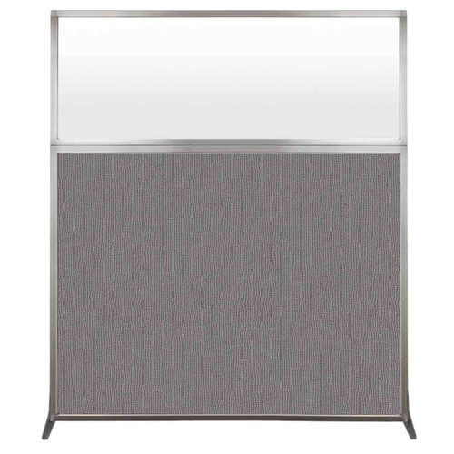 Hush Screen Portable Partition 5' x 6' Slate Fabric Frosted Window Without Wheels