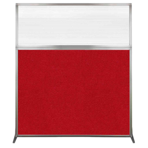 Hush Screen Portable Partition 5' x 6' Red Fabric Clear Fluted Window Without Wheels