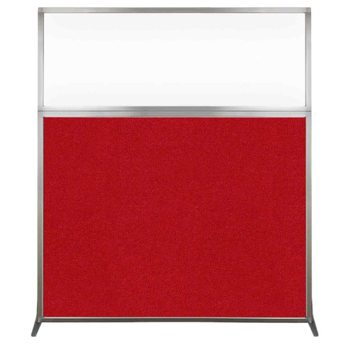 Hush Screen Portable Partition 5' x 6' Red Fabric Clear Window Without Wheels