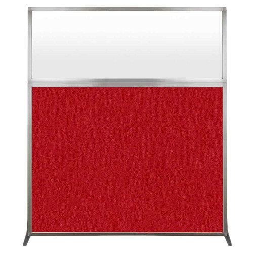 Hush Screen Portable Partition 5' x 6' Red Fabric Frosted Window Without Wheels