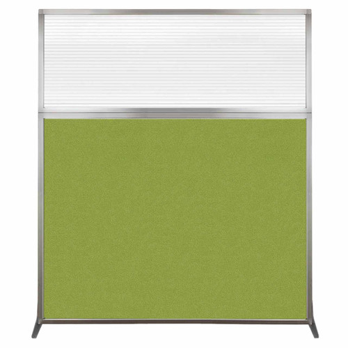 Hush Screen Portable Partition 5' x 6' Lime Green Fabric Clear Fluted Window Without Wheels