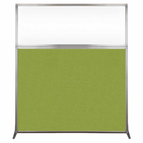 Hush Screen Portable Partition 5' x 6' Lime Green Fabric Clear Window Without Wheels