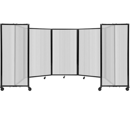 Room Divider 360 Folding Portable Partition 14' x 5' Clear Fluted Polycarbonate