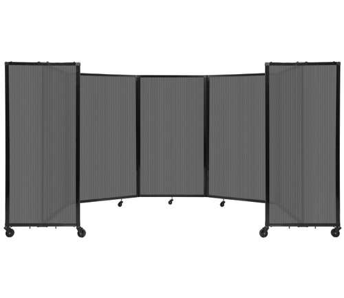 Room Divider 360 Folding Portable Partition 14' x 5' Dark Gray Fluted Polycarbonate