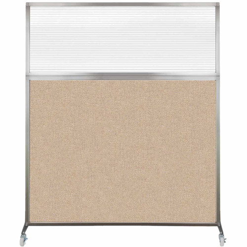 Hush Screen Portable Partition 5' x 6' Beige Fabric Clear Fluted Window With Wheels