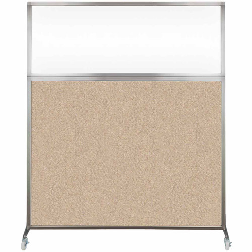 Hush Screen Portable Partition 5' x 6' Beige Fabric Clear Window With Wheels