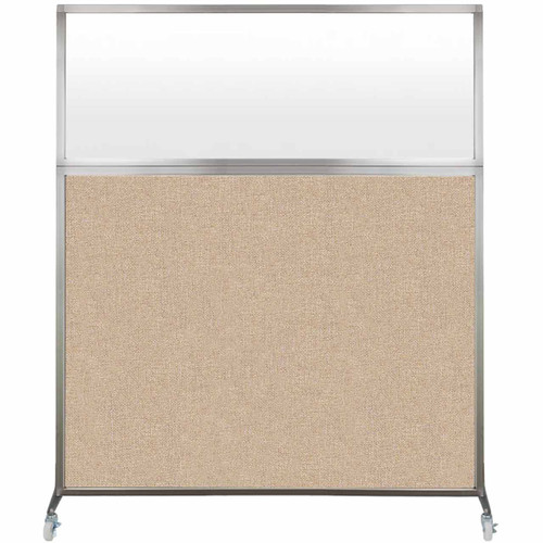 Hush Screen Portable Partition 5' x 6' Beige Fabric Frosted Window With Wheels