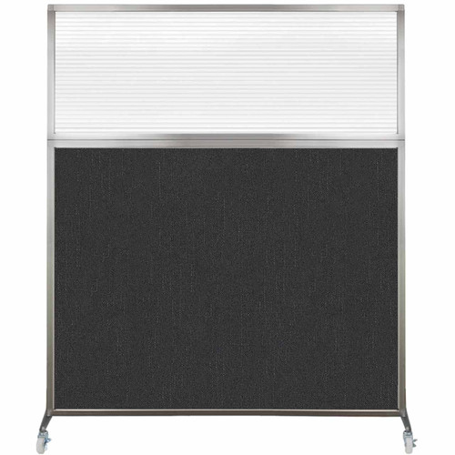 Hush Screen Portable Partition 5' x 6' Black Fabric Clear Fluted Window With Wheels