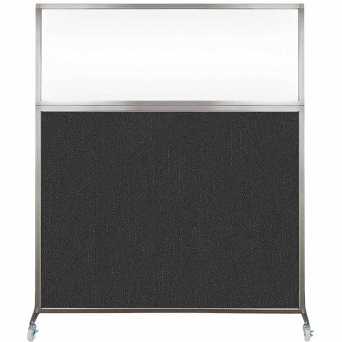 Hush Screen Portable Partition 5' x 6' Black Fabric Clear Window With Wheels