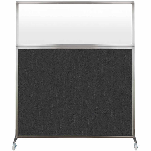 Hush Screen Portable Partition 5' x 6' Black Fabric Frosted Window With Wheels