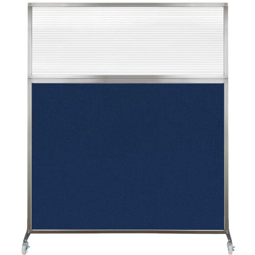 Hush Screen Portable Partition 5' x 6' Navy Blue Fabric Clear Fluted Window With Wheels