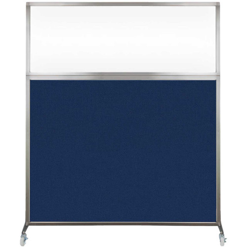 Hush Screen Portable Partition 5' x 6' Navy Blue Fabric Clear Window With Wheels