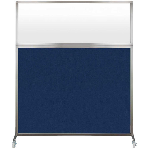 Hush Screen Portable Partition 5' x 6' Navy Blue Fabric Frosted Window With Wheels