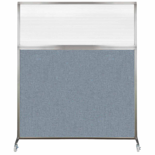 Hush Screen Portable Partition 5' x 6' Powder Blue Fabric Clear Fluted Window With Wheels