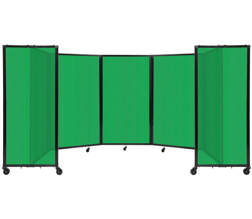 Room Divider 360 Folding Portable Partition 14' x 5' Green Fluted Polycarbonate