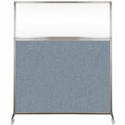 Hush Screen Portable Partition 5' x 6' Powder Blue Fabric Clear Window With Wheels