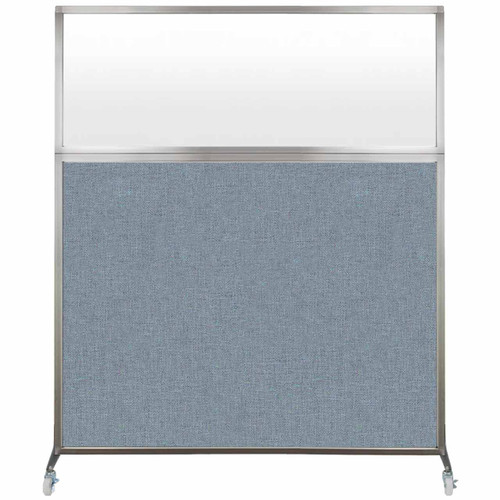 Hush Screen Portable Partition 5' x 6' Powder Blue Fabric Frosted Window With Wheels